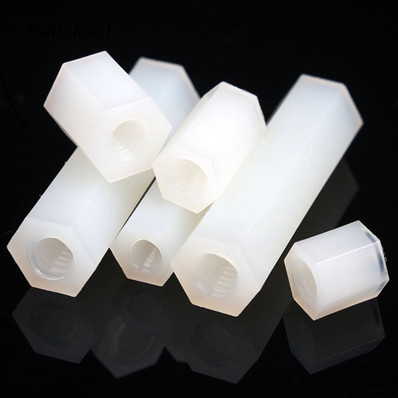 50Pcs M2 M2.5 M3 M4 White Hex Nylon Standoff Spacer Column Flat Head Double Pass Nylon Plastic Spacing Screws