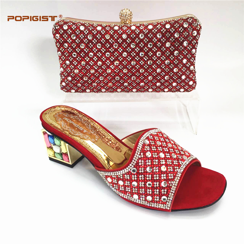 Red Color 2018 African Shoes And Bag Set In Pu Leather Italy High Heels Women Shoes