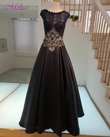 Melice אפליקציות סקופ צוואר תחרה עד שחור ארוך ערב שמלה 2018 אופנה שווי שרוול פורמליות המפלגה שמלת נשף דה גלימה בתוספת גודל