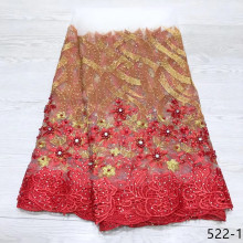 2019 Hot sale White and red African lace fabric embroidery beaded french guipure 5 yards tulle net 522