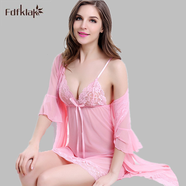 Brand Women Robe Sexy Pijama Plus Size Short Gowns For Women Home Womens Tracksuits Dressing Gowns Three Pieces Robes Set E0015