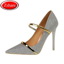 2019 New Arrival Sexy High Heel Shoes Women Pumps escarpins femme Sequined Cloth Pointed Toe Wedding Party Ladies Shoes For Heel esveva blue sexy party summer women shoes thin high heel woman pumps pointed toe sequined cloth ladies wedding shoe size 34 43