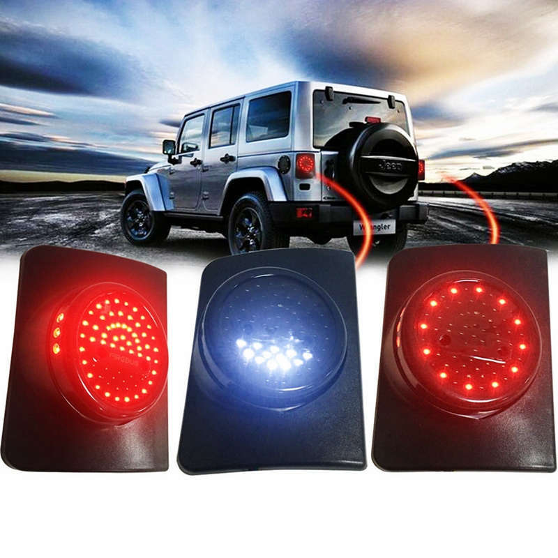 JK JKU LED Round Tail Light Running Brake Light Turn Signal Reverse Light For Jeep Wrangler  Unlimited JK 4 Door Led Taillight auxmart 22 led light bar 3 row 324w for jeep wrangler jk unlimited jku 07 17 straight 5d 400w led light bar mount brackets