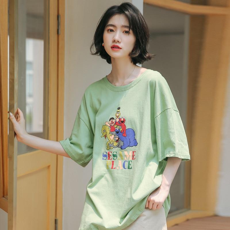 Ropa Suelta Nueva 2019 Mujer Aguacate Coreana Manga Edición Corta Masaje Verde Camiseta Cuello Té rBCeWdxo