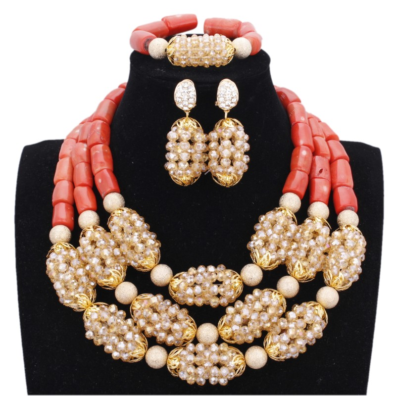 Dudo Glamorous Set necklace Gold And Original Coral Beads Jewelry Set African Wedding Jewellery Set For Bridal Women Free Ship платье glamorous hp0093 coral