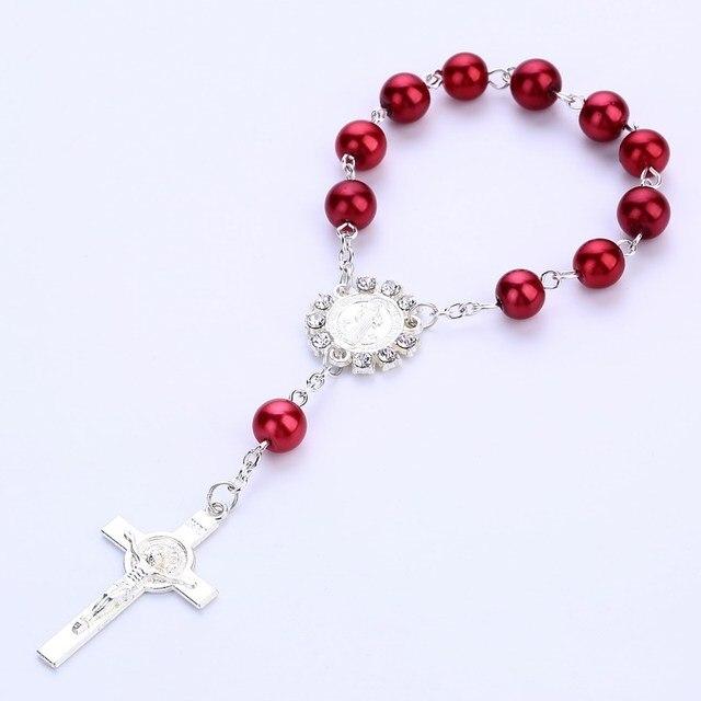 Купить крестик крещение сувениры розовые хрустальные жемчужины для