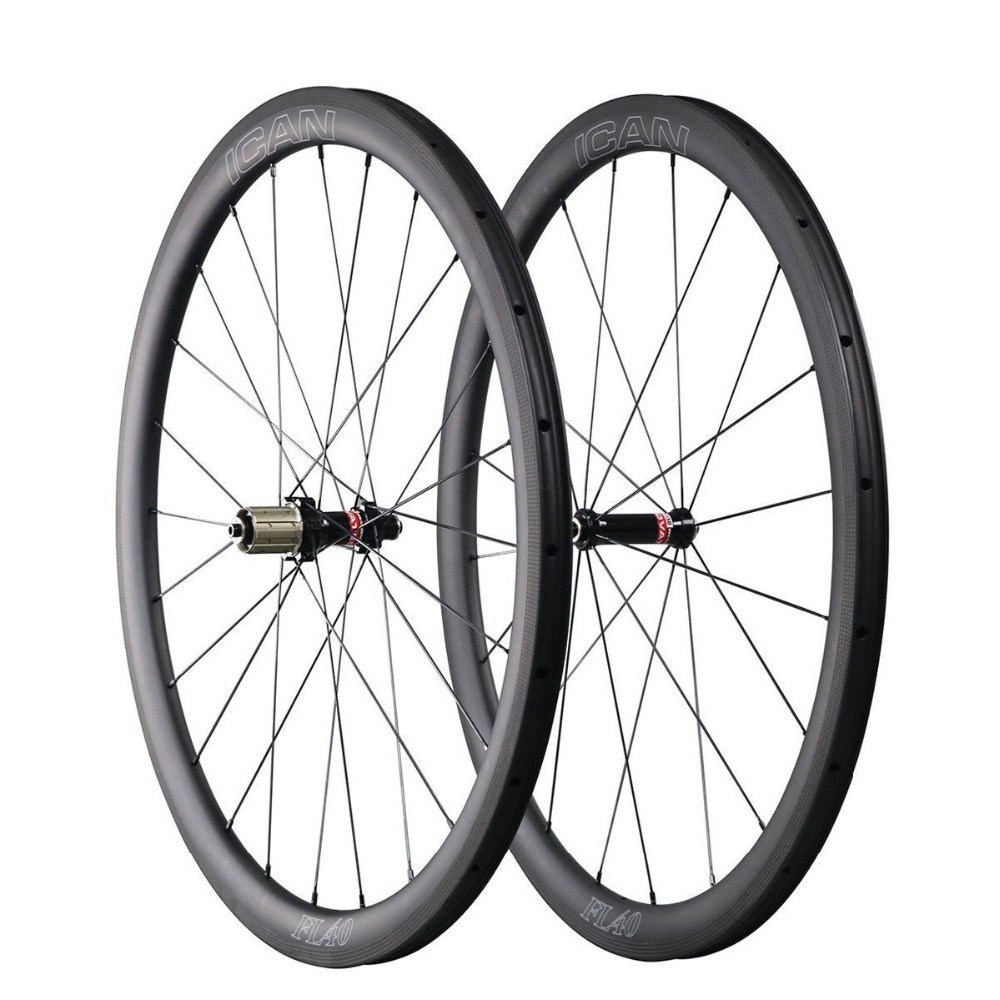 ICAN Carbon FL40C Road Bike Wheelset Novate hub carbon clincher tubeless ready 25mm width rimset with Straight Pull Sapi spokeICAN Carbon FL40C Road Bike Wheelset Novate hub carbon clincher tubeless ready 25mm width rimset with Straight Pull Sapi spoke