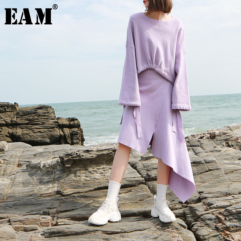 [EAM] 2019 New Spring Round Neck Long Sleeve Irregular Hem Half body Skirt Knitting Two Piece Suit Women Fashion JK414-in Women's Sets from Women's Clothing    1