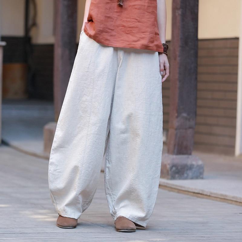 Wide Leg Pants Women Cotton Linen Elastic Waist Trouser Spring New Vintage 9 Color Casual High Quality Pants