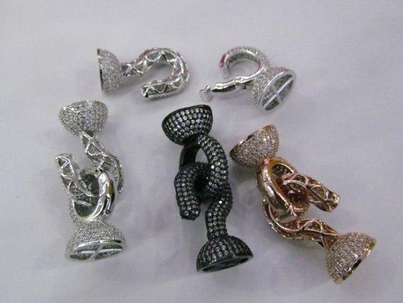2 pièces 30-50mm Lien Connecteur CZ Micro Pavé Diamant pavé Fermoirs bijoux Micro Pavé rond en or rose bronze argent findi