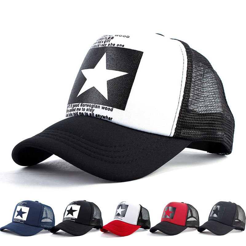 Women and Men Mesh Net Baseball cap Casual Star Printing Snapback Bone Baseball Hat for Male Casquette Letter Black Cap