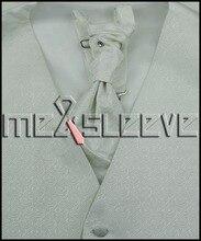 Newest Men Suit formal Wedding Groom Suit Custom ivory swirl Vest+ascot+cufflinks+hanky