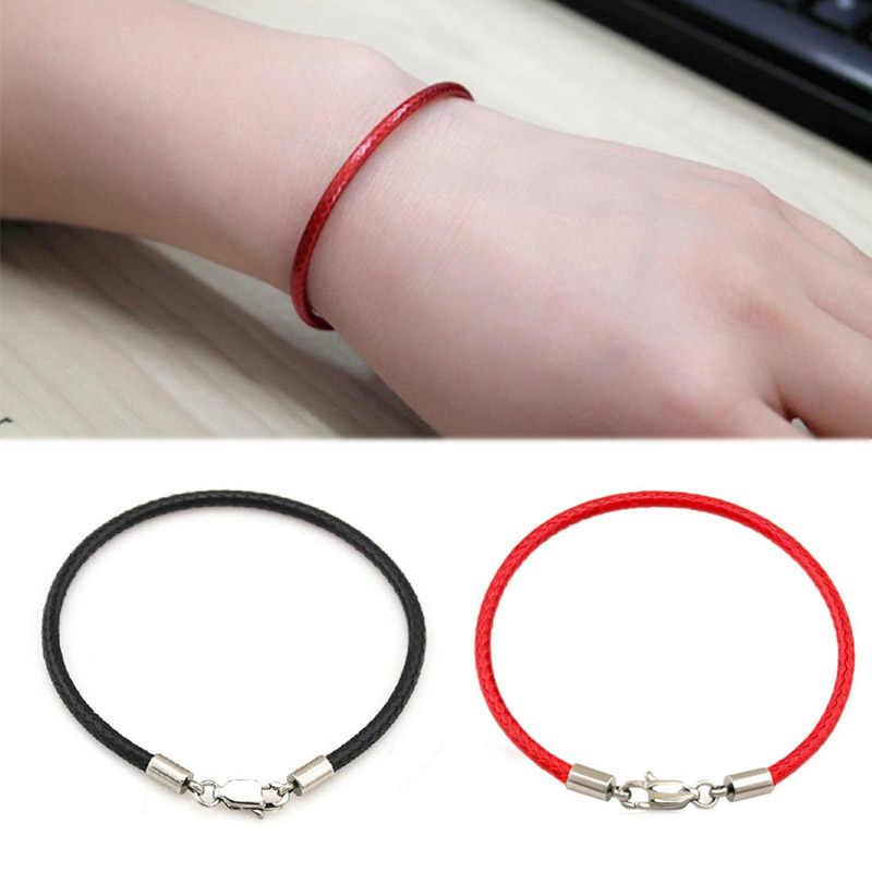 Venta de cuero rojo niñas cuerda de mano hilo negro pulsera para Mujeres Hombres pareja joyería de moda