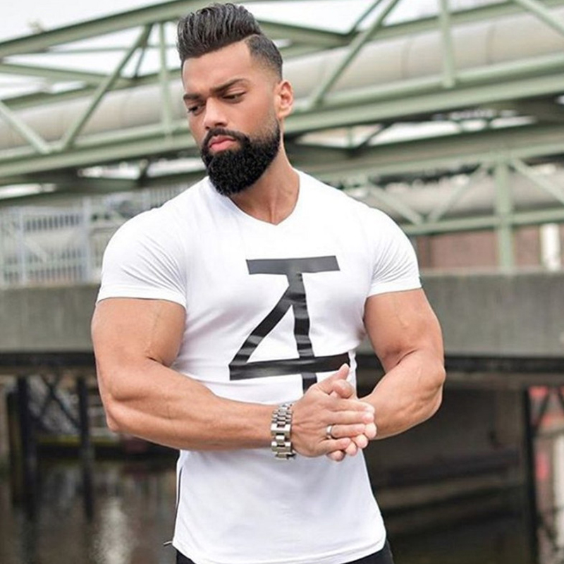 Muscle men fit t shirt short sleeve tanktops fashion v for Dress shirts for athletic guys