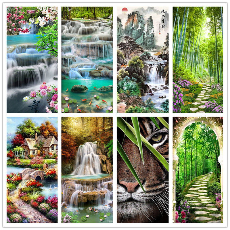 5DDIY landscape diamond painting full round embroidery form waterfall rhinestone inlay set 45X85CM