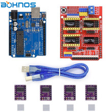 CNC Shield Expansion Board + UNO R3 Board USB Cable Kits 4pcs DRV8825 Stepper Motor Driver With Heatsink for Arduino 3D Printer cnc shield expansion board v3 0 4pcs drv8825 stepper motor driver with heatsink with uno r3 board