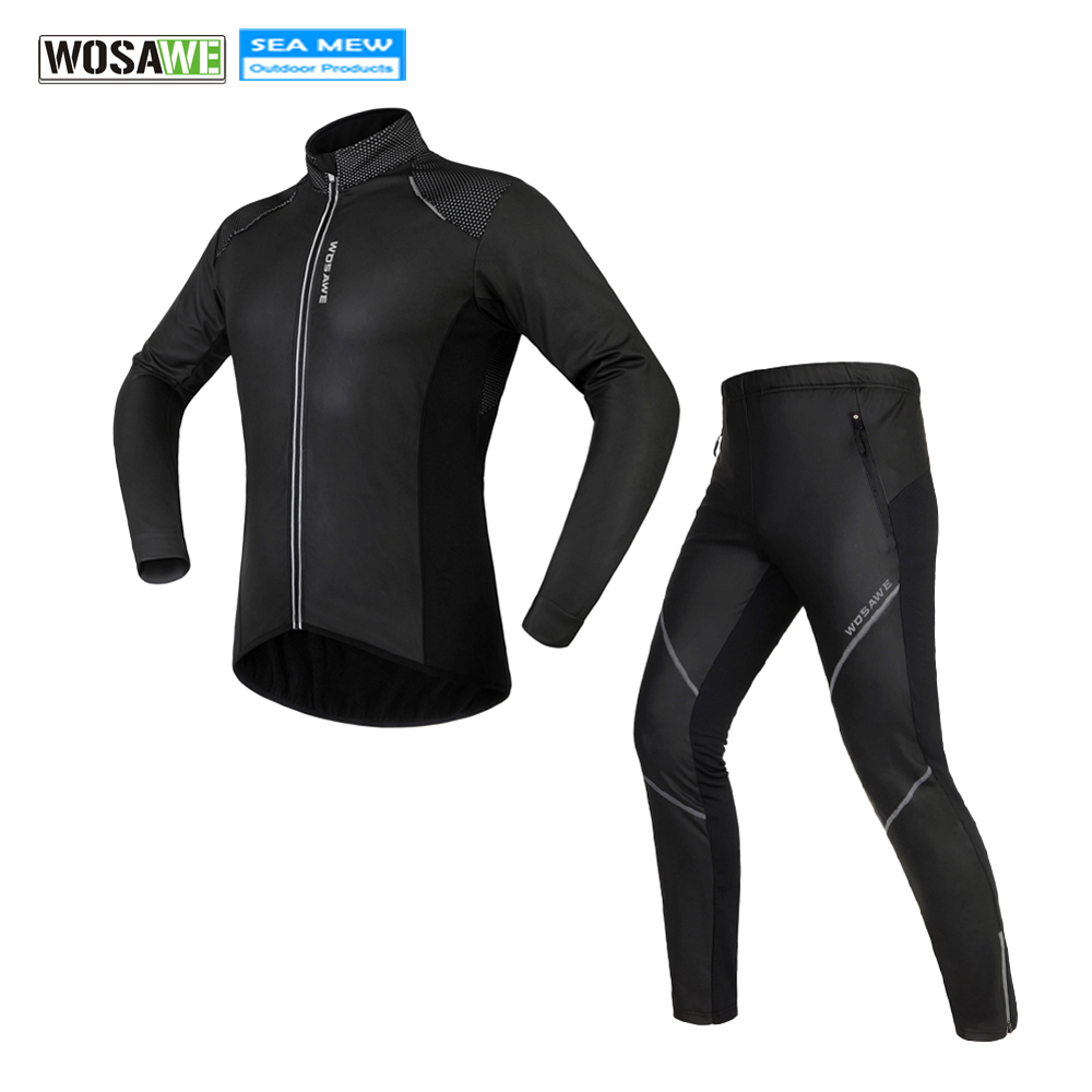WOSAWE Cycling Jersey Set Winter Fleece Thermal Warm Bicycle Clothes Windproof ciclismo Waterproof Riding Bike Cycling Clothings