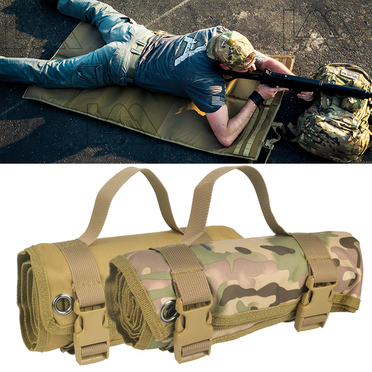 Tactical AR15 M4 M16 Lightweight Roll Up Shooting Mat Non padded Shooting Accessories Hunting Gun Rifle Cleaning Mat for Shotgun