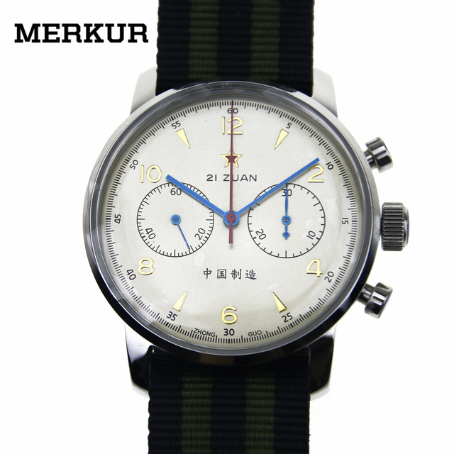 Seagull Movement Mechanical Chronograph Mens Wrist watch Pilot Officiall Reissue 304 St19 1963 Flieger exibition 42MM Ivory