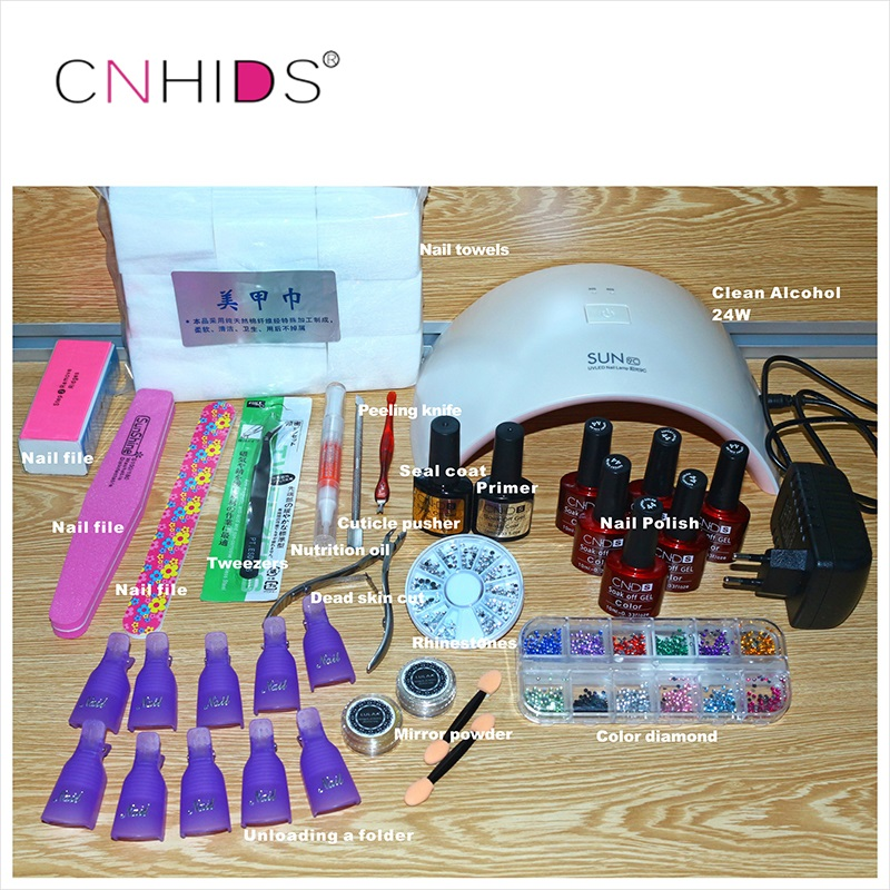 CNHIDS 24W Professional 9C  UV LED Lamp 6 Color 10ml Soak off Gel Nail Base gel Top coat Other Nail Tools  Nail Polish Set cnhids in 24w professional 9c uv led lamp of resurrection nail tools and portable package five 10 ml soaked gel nail polish