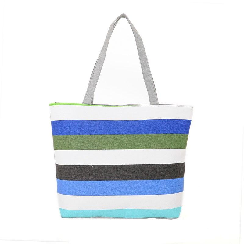 Tote Women Shopper-Bag Canvas Beach-Bags Rainbow Girls Striped Casual Summer Ladies Prints