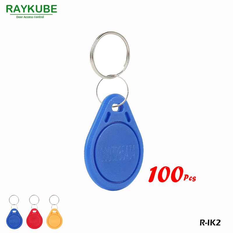 RAYKUBE R-IK2 Keyfob 100Pcs/Lot 125Khz RFID Proximity Keyfobs For Door Access System raykube 125khz rfid proximity keyfobs 10pcs lot tk4100 em keytags rfid for access control keyfobs r ik1