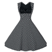 Korean Style Young Lady Lovely Black Polka Dot Skater Dress Printing Sleeveless Fashion Woman Dress S