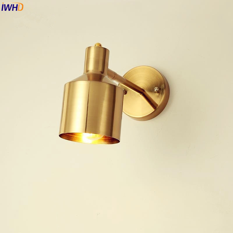 IWHD Nordic Brass Copper LED Wall Lights Fixtures Bathroom Mirror Light Beside Lamp Vintage Wall Sconce Wandlampen Lampara Pared