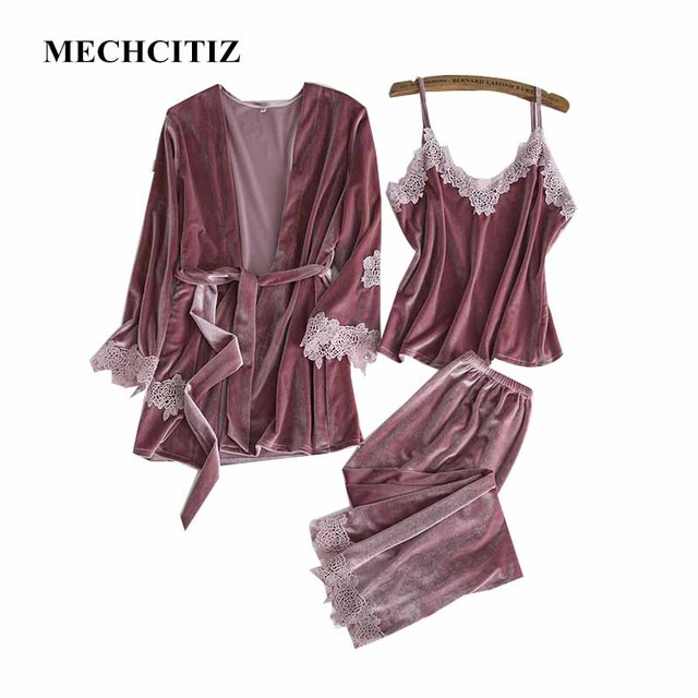 MECHCITIZ 2018 Winter Women Pajamas Sets 3 Pieces Sexy Strap Lace Velvet  Long Sleeve Autumn Sleepwear 4ac4b1103d7
