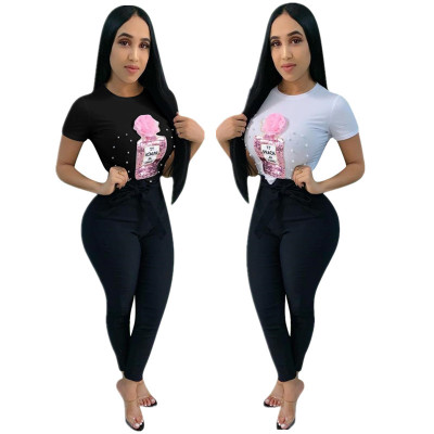 2019 New European And American Women's Chest Pearl Sequin Applique T-shirt Ladies Shirt Summer O-Neck 2 Colors Womens Top