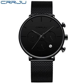 fce3cbc6d19b Crrju deportes relojes para hombre marca de lujo impermeable deporte reloj  hombres Ultra delgado Dial reloj de cuarzo Casual Masculino