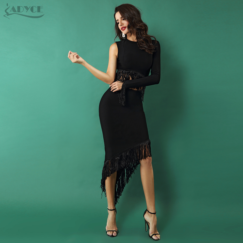 Adyce 2018 New Women Dresses Elegant Club Party Fringe Dress Sexy O Neck Black Hollow Out One Shoulder Tassels Embellished Dress one shoulder fringe cocktail flapper dress page 4