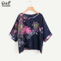 Dotfashion Blumendruck Button Zurück Chiffon Lose Bluse Sommer Rundhals 3/4 Sleeve Casual Tops Frauen Big Size Bluse