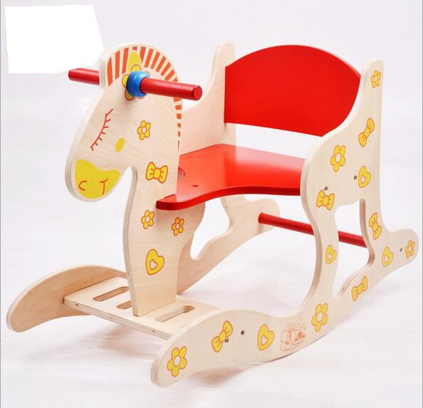 Wooden Rocking Horse Baby Puzzle Toy Rocking Horse 1-5 Year Old Children Stool Children's Chair Children's Furniture