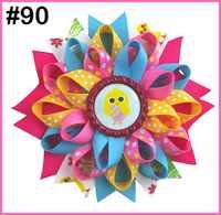 free shipping 2019 newest 24pcs 4.5'' bottle cap loopy hair bows Flower hair bow emoji hair clips cute animal Girls hair clip