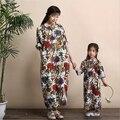 Otoño y primavera del grado superior de la madre y la hija del padre-niño literaria retro de lino de algodón de manga larga casual vestido largo bata