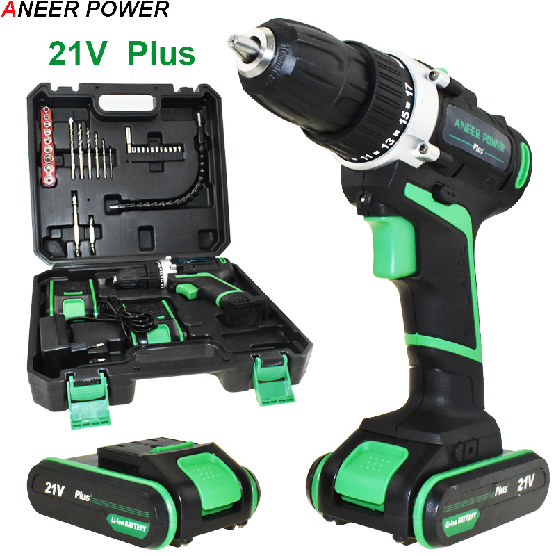 21v Plus Power Tools Electric Drill Drilling Battery Screwdriver Drill 2pcs Batteries Cordless Drill Mini Electric Screwdriver 12v power tools electric drill electric cordless drill electric drilling battery drill 2 batteries screwdriver new style