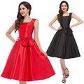 Negro Rojo 40 s SummerStyle 2016 Gracia Karin Vestido de Audrey Hepburn Columpio Pinup Rockabilly 50 s 60 s Party Vintage vestido de Las Mujeres