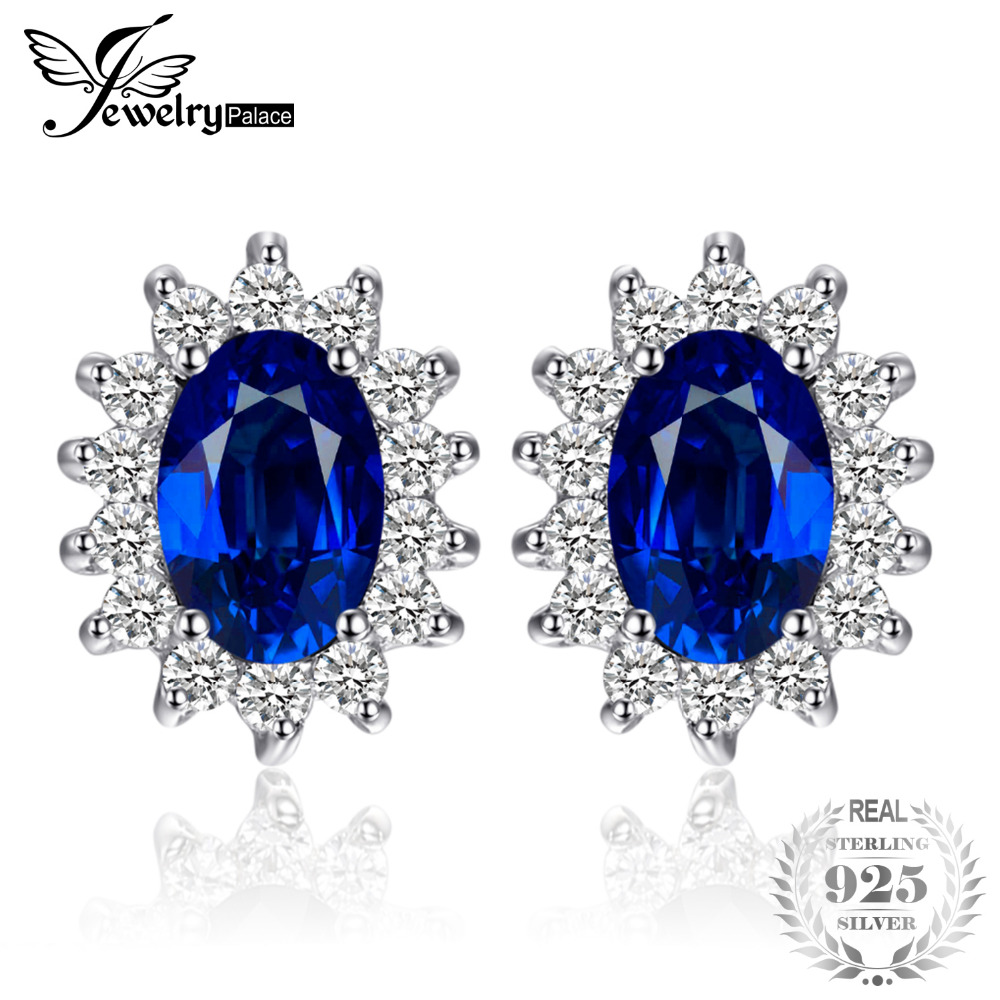 JewelryPrincesse Palace Diana William Kate Middleton 1.5ct créé bleu saphir boucles d'oreille Pure bijoux en argent Sterling 925
