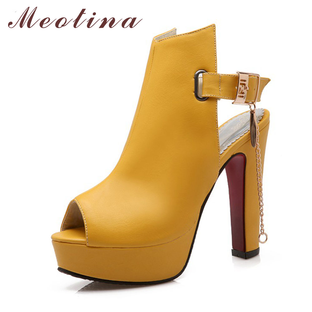 Sale Promotion Novelty Shoes Women Pumps Spring Peep Toe Gladiator Chunky High Heels Platform Female Chains Sequined Yellow