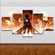 купить Modular Canvas Paintings Wall Art Home Decor HD Prints 5 Pieces Attack on Titan Eren Yeager Pictures Animation Posters Framework по цене 332.17 рублей