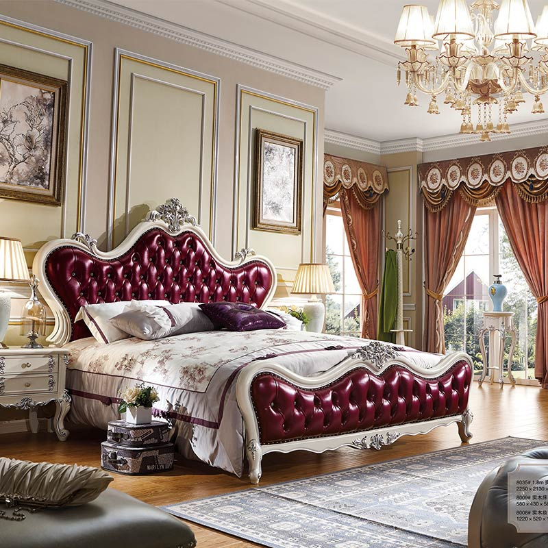 Purple Classical Engaging French Bedroom Set 21 Country Furniture