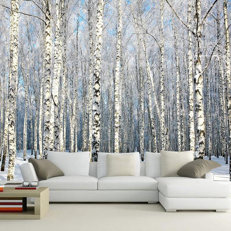 Custom 3d Wall Paper Natural Scenery Murals Winter Birch