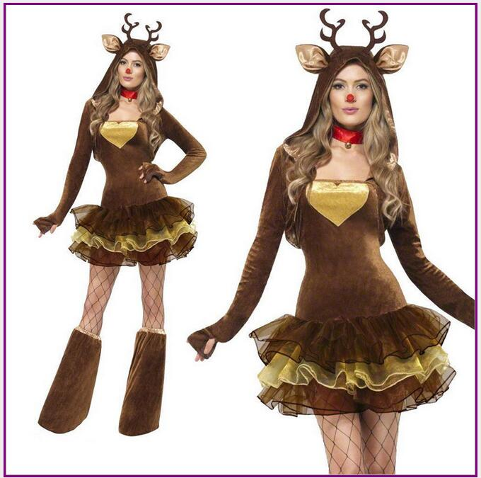 Christmas Outfit.Us 15 42 37 Off Women Reindeer Christmas Outfit Sexy Adult Animal Halloween Costume Deluxe Cute Deer Tutu Dress Role Play Fancy Dress On Aliexpress