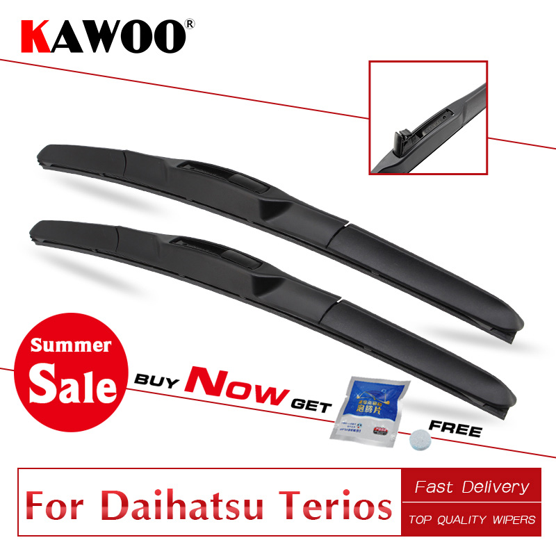 KAWOO Auto Windshield Hybrid Wiper Blades for Daihatsu Terios Fit Hook Arms Car Model Year From 1997 1998 1999 2000 2001 to 2017(China)