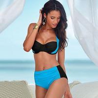 Retail 2016 new spell color cross fashion waist split bikini swimwear