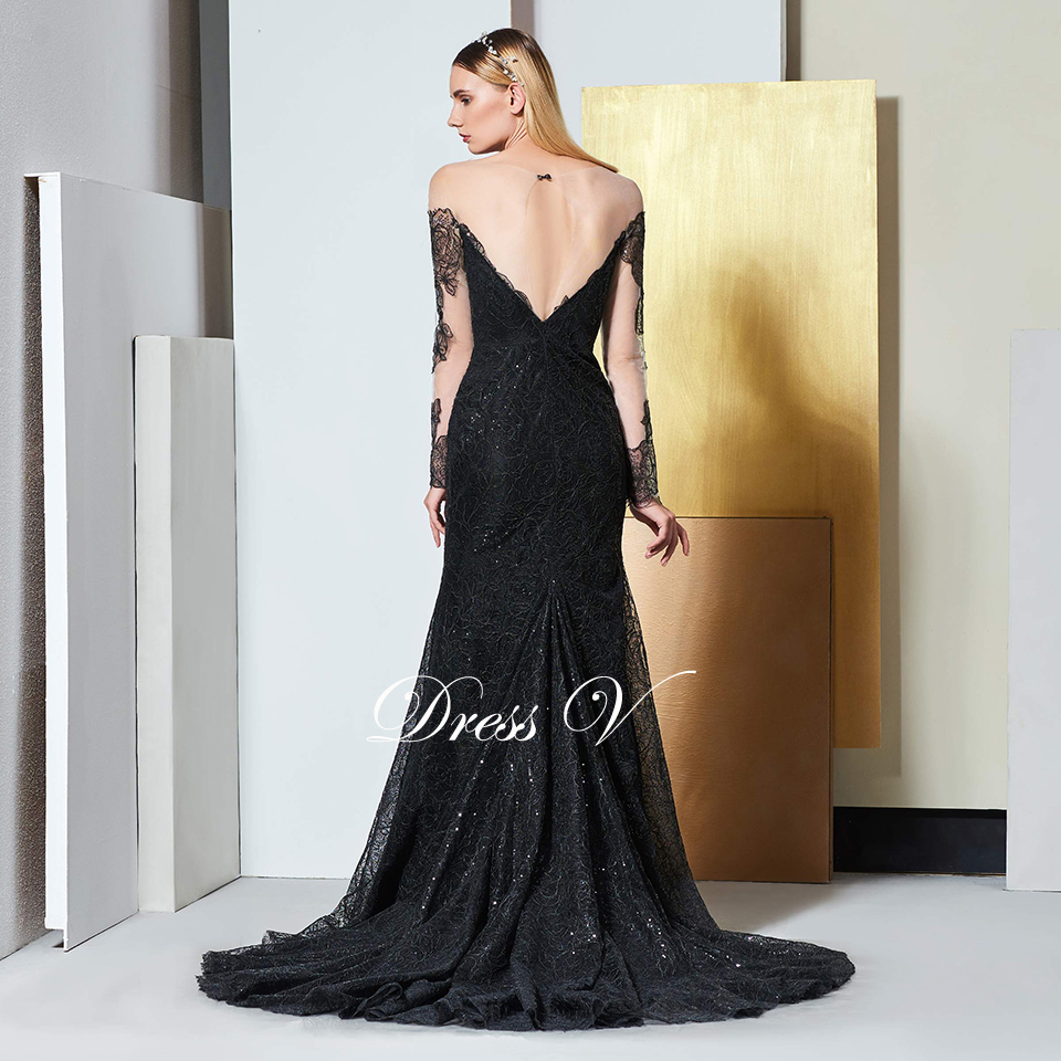 f0fc44a700 Dressv black elegant long sleeves lace evening dress sequins floor length  wedding party formal gown dress evening dresses