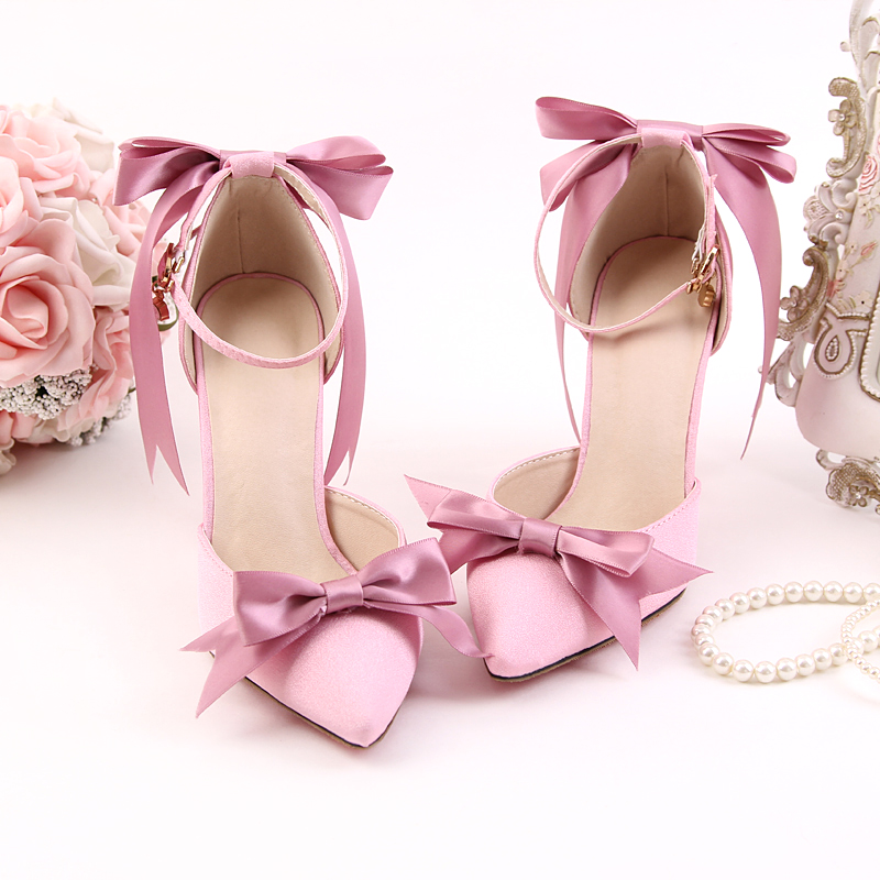 Beautiful pink satin bow shoes with ultra fine bride high-heeled shoes dress shoes sandals wristbands toast wedding shoes fashion big flowers pink bride high heeled shoes waterproof taiwan fine with hollow wrist dress shoes wedding shoes sandals