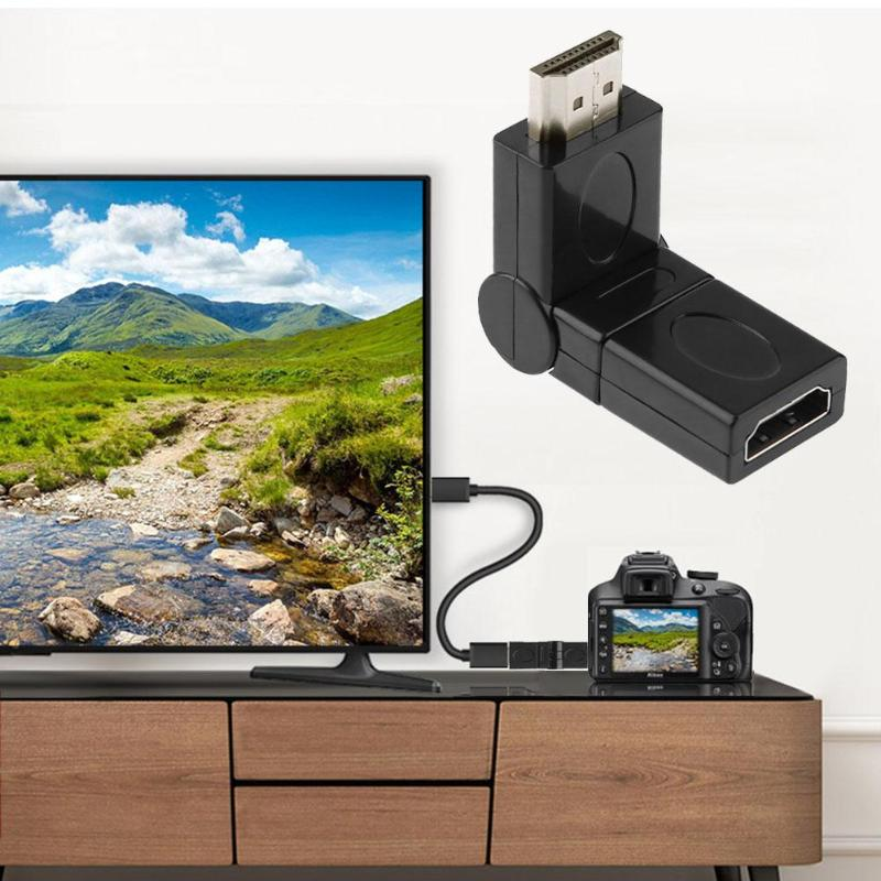 ALLOYSEED Flexible 360 Degree Rotation Angle HDMI Male To HDMI Female Adapter Connector Head Audio Video Cable Connector Adaptor