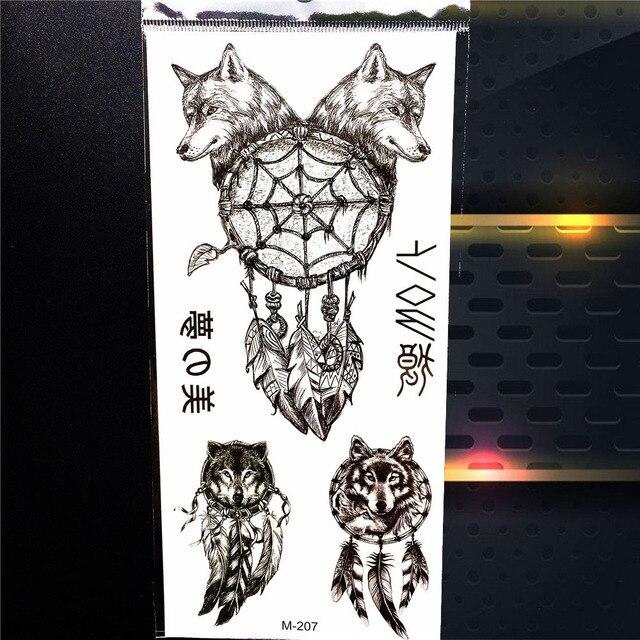 fb89163efe6c0 Women Men Indian Tribal Dreamcatcher Wolf Totem Black Henna Tattoo Stickers  Body Art Arm Leg Waterproof Temporary Tattoo Feather